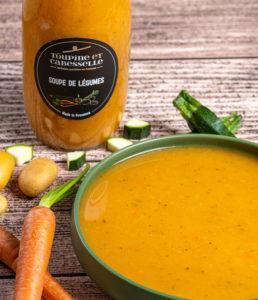 achat vente soupe de légumes artisanale gastronomique toute prête en bouteille en verre cadeau