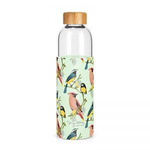 Achat bouteille en verre motif oiseaux cadeau à acheter Label Tour
