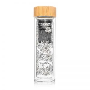 Achat bouteille infuseur thé nomade motif pivoines fleurs cadeau à acheter Label Tour