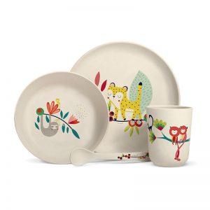 Achat vente coffret vaisselle enfants motif jungle cadeau enfant à acheter Label Tour Zabeil