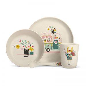 Achat coffret vaisselle bambou enfants motif caravane cadeau enfant à acheter Label Tour Zabeil