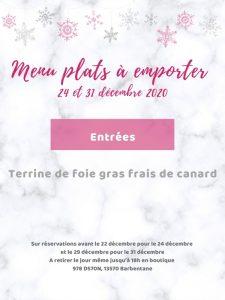 Menu plat à emporter traiteur Noël et Jour de l'An 2020 foie gras