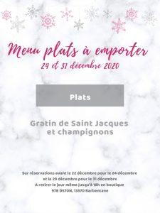 Menu plat à emporter traiteur Noël et Jour de l'An 2020 gratin de saint jacques